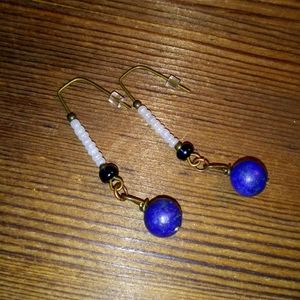 Blue Lapis and White Seed Bead Dangle Earrings